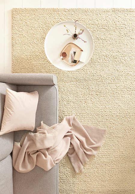 Schlingen-Teppich Rhönschaf aus reiner Schurwolle