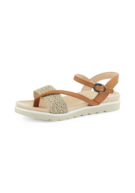 Strap sandals made of chrome-free tanned leather and linen