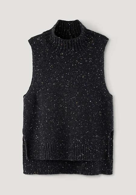 Tweed-Pullunder aus reiner Schurwolle