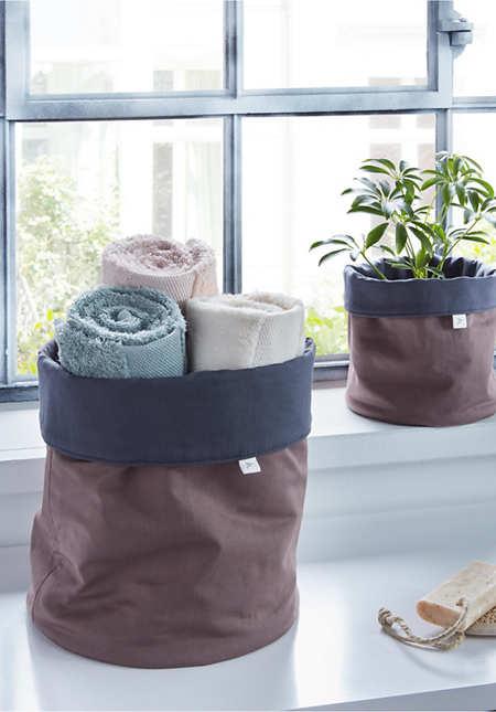 Upcycling Korb aus reiner Bio-Baumwolle im 2er-Set